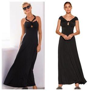 Boston Proper Black Convertible Maxi Dress